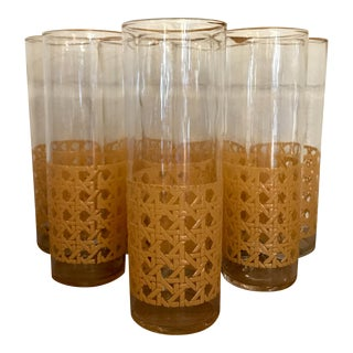 Rattan Highball Glasses - Set of 8
