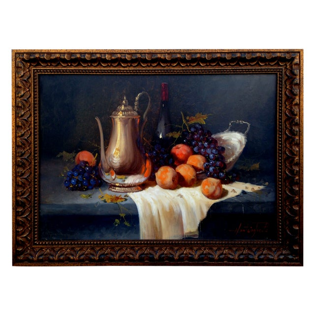 Pears & Grapes Painting by Monteiro Prestes - Image 1 of 4