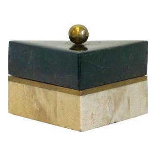 Brass & Tessellated Marble Triangular Box