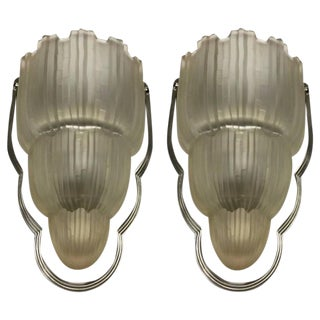 """Sabino Signed French Art Deco """"Waterfall"""" Sconces - A Pair"""