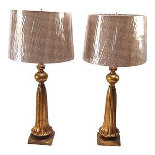 Italian Gilt Ceramic Lamps - A Pair