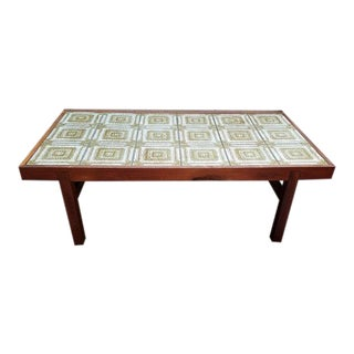 Danish Modern Walnut & Ceramic Tile Coffee Table c.1960