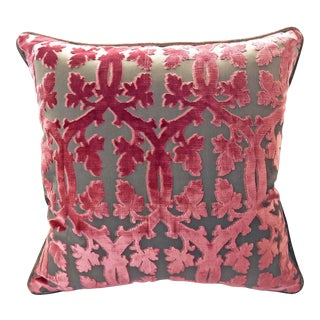 Scalamandre Falk Manor House Cut Velvet Pillow - Rose On Taupe