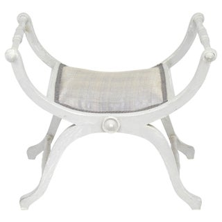 Antique French Painted Mahogany Curule Bench