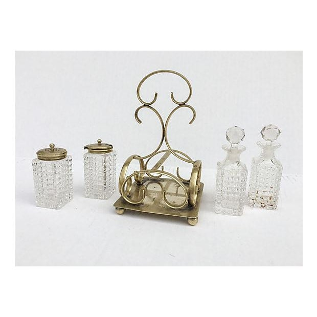 Image of Antique Cut Glass Cruet Set - 5 Pieces