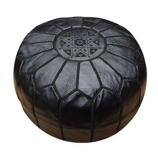 Moroccan Handmade Black Leather Pouf