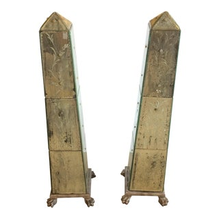 Glamorous Aged Mirror & Etched Obelisks - A Pair