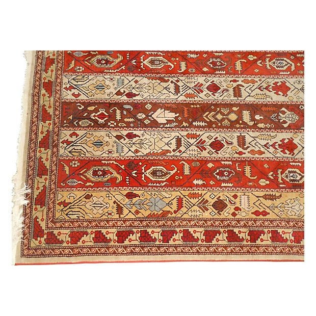 Image of Vintage Rust Striped Azerbaijani Rug - 4' x 5'8""