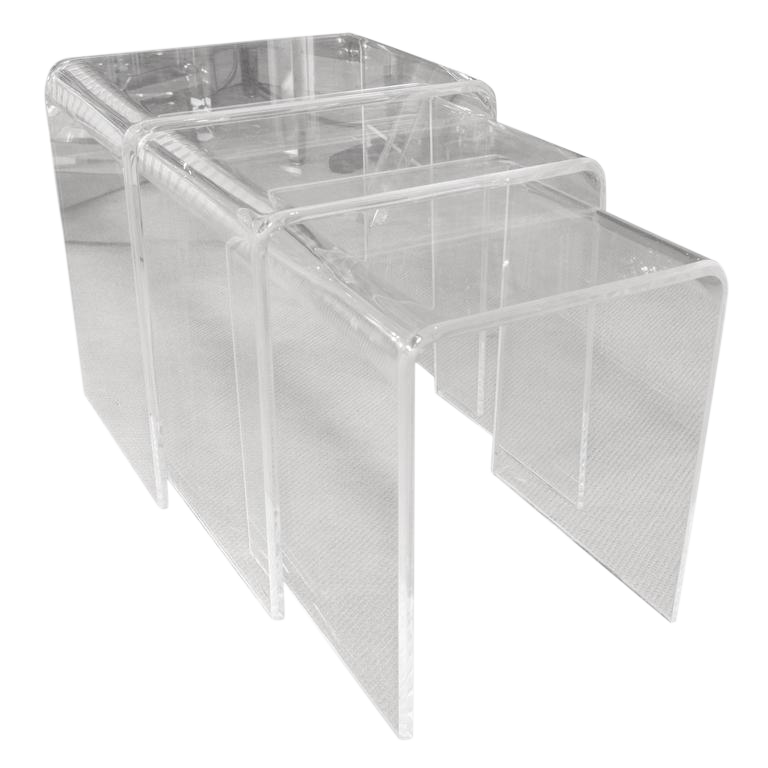 Set Of Three Mid Century Lucite Nesting Tables   Image 1 Of 6