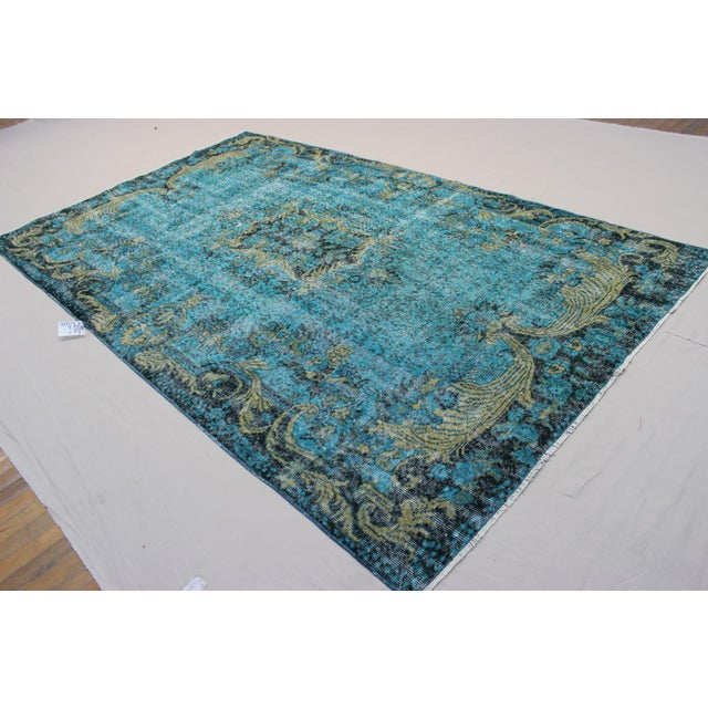 Vintage Handwoven Teal Overdyed Rug - 5′10″ × 9′7″