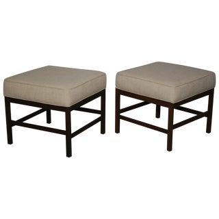 Mid-Century Walnut Frame Upholstered Stools - Pair