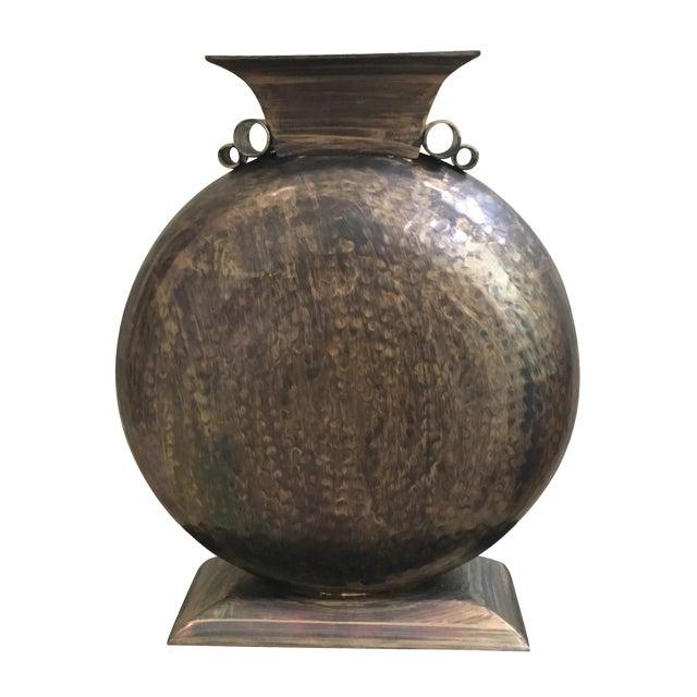 Image of Antique Hammered Brass Vase