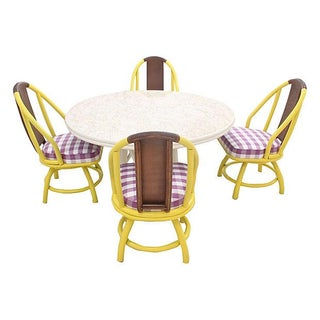 Mid-Century Yellow Bamboo & Rattan Dining Set