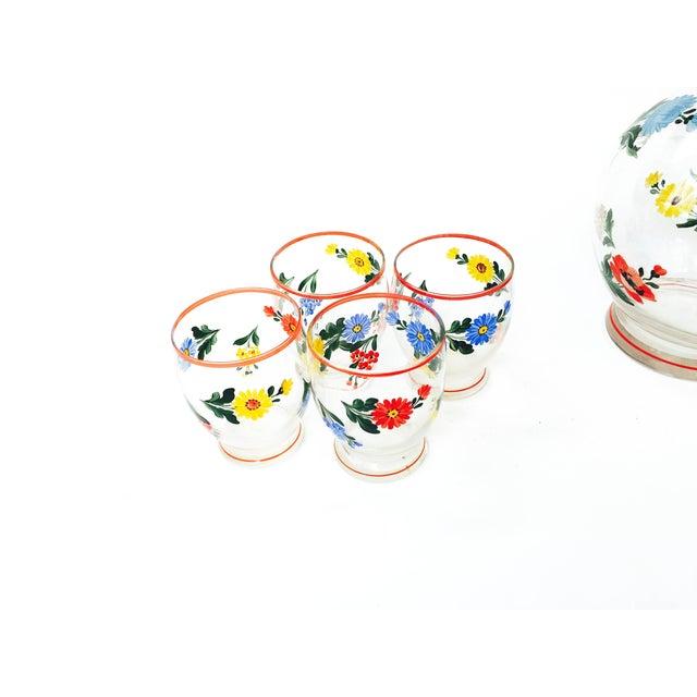 Vintage 5-Piece Floral Czech Decanter Set - Image 4 of 6