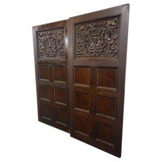 1880's Vanderbilt Hand Carved Oak Panels - Pair