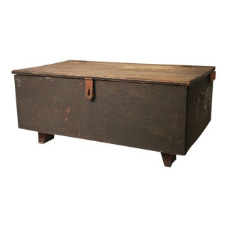 Vintage Dovetailed Wood Chest with Hinged Lid