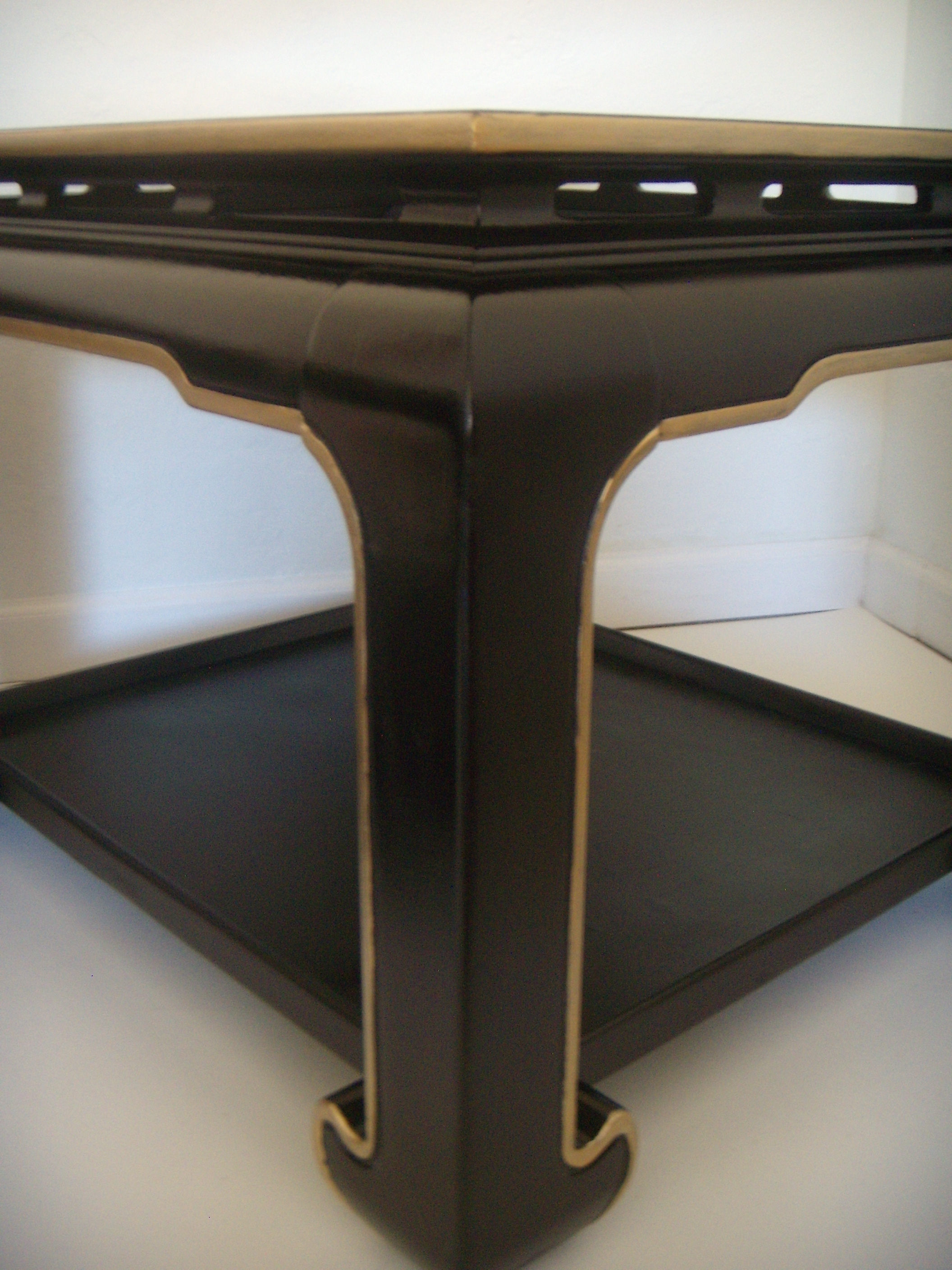 Vintage Black Chinese Ming Style End Tables, Pair   Image 5 Of 6