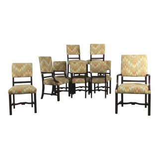 Vintage Georgian Revival Upholstered Dining Chairs - Set of 10