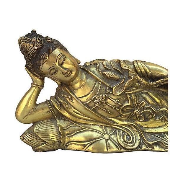 Quan Yin Brass Reclining Statue - Image 6 of 7