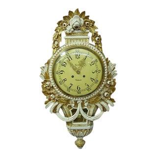 Swedish Gustavian Style Gilt Wood Cartel Wall Clock