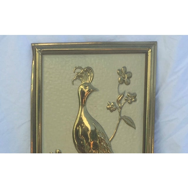Vintage Gold Peacock Wall Hanging- Right Facing - Image 5 of 5