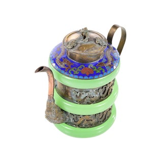 Chinese Antique Cloisonne & Jade Tea Pot