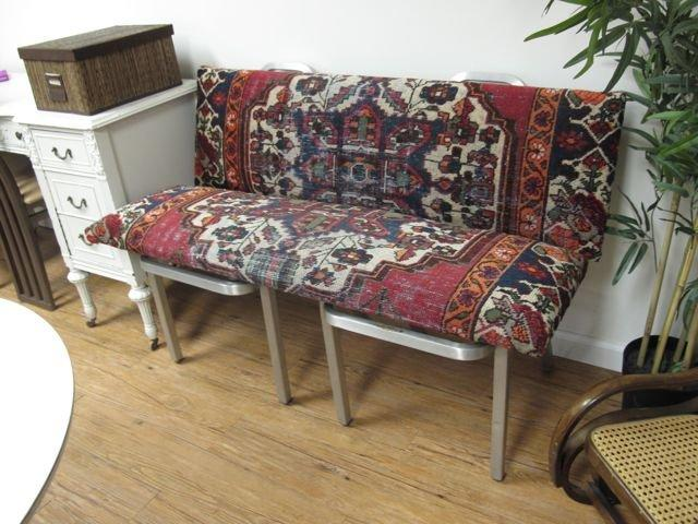 Good Bench Form: 50s Good Form Chairs Turned Antique Rug Bench