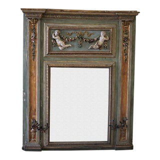 Antique French Trumeau Mirror With Roses