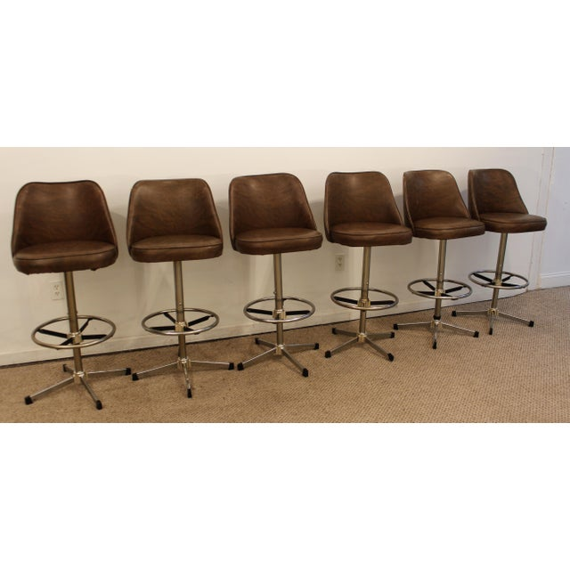 Danish Modern Admiral Chrome Swivel Stools - Set of 6 - Image 5 of 11