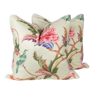 Chinoiserie Brunshwig & Fils Leshan Bird Pillows - A Pair