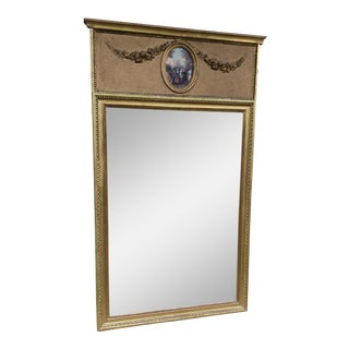 French Trumeau Beveled Gilt Mirror