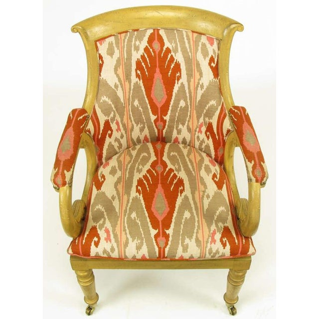 Image of Pair Interior Crafts Regency Scrolled Arm Chairs In Ikat Fabric