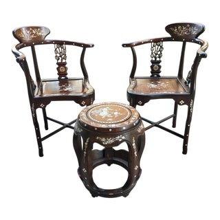 Chinese Inlaid Rosewood Corner Chairs & Matching Garden Stool - Set of 3