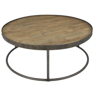 Sarreid LTD Round Metal Rimmed Coffee Table