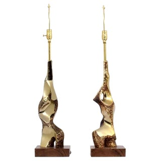 Pair of Laurel Brutalist Lamps in Wood and Brass, 1960s, USA