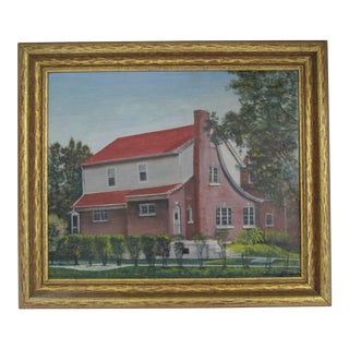 Vintage Acrylic Painting of House