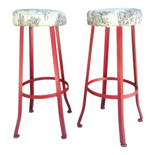Vintage Red Bar Stools - A Pair