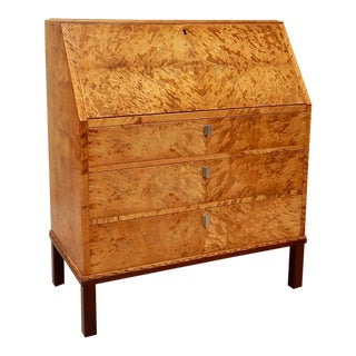 Swedish Art Deco Secretary Chest of Drawers in Golden Flame Birch, circa 1930