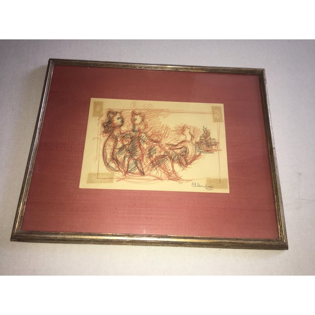 Image of Chaim Gross Signed Original Crayon Drawing