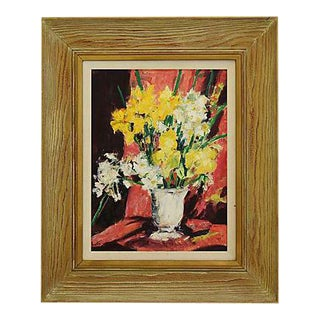 Vintage Mid-Century Signed Dorothy Neal Framed Abstract Floral Oil Painting