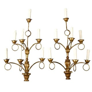 French Giltwood Seven-Light Sconces - Pair