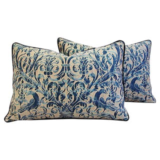 Custom Designer Italian Fortuny Uccelli Feather/Down Pillows - Pair