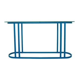 Cerulean Blue Metal & Glass Console