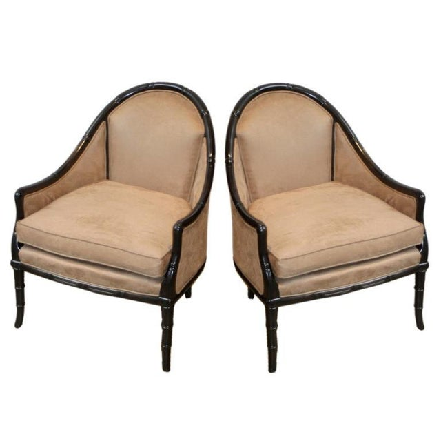 Faux Bamboo Midcentury Chairs - A Pair - Image 1 of 3
