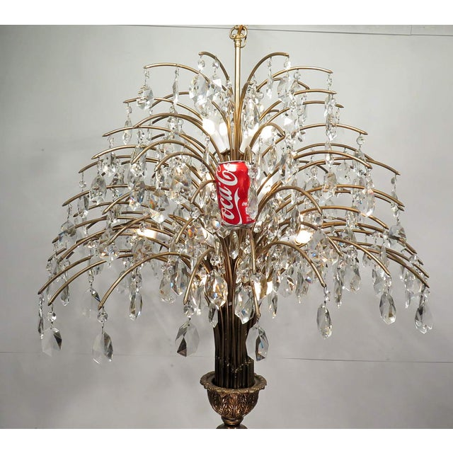 Vintage Mid Century Palm Spray Crystal Chandelier - Image 6 of 8