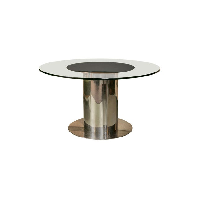 Image of 1980's Chrome & Glass Dining Table