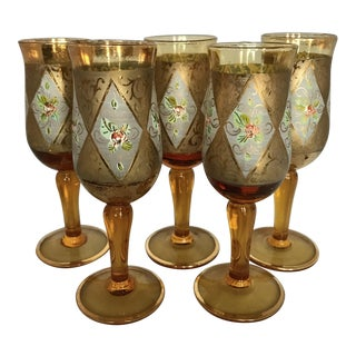 Vintage Gold Foil & Floral Amber Cordial Glasses - Set of 5
