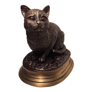Vintage Sand Cast Bronze Cat On Bronze Base