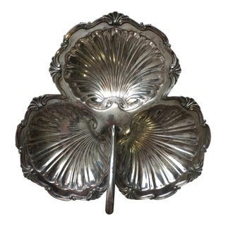 Rococo Style Silver Plated Triple Shell Candy Dish