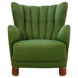 Danish Wingback Lounge Chair with Green Wool Upholstery, 1940s